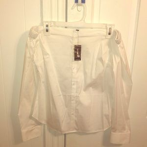 Off the Shoulder White Button Down Shirt